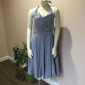 🆕{Lindy Bop} Navy and White Halter Swing Dress